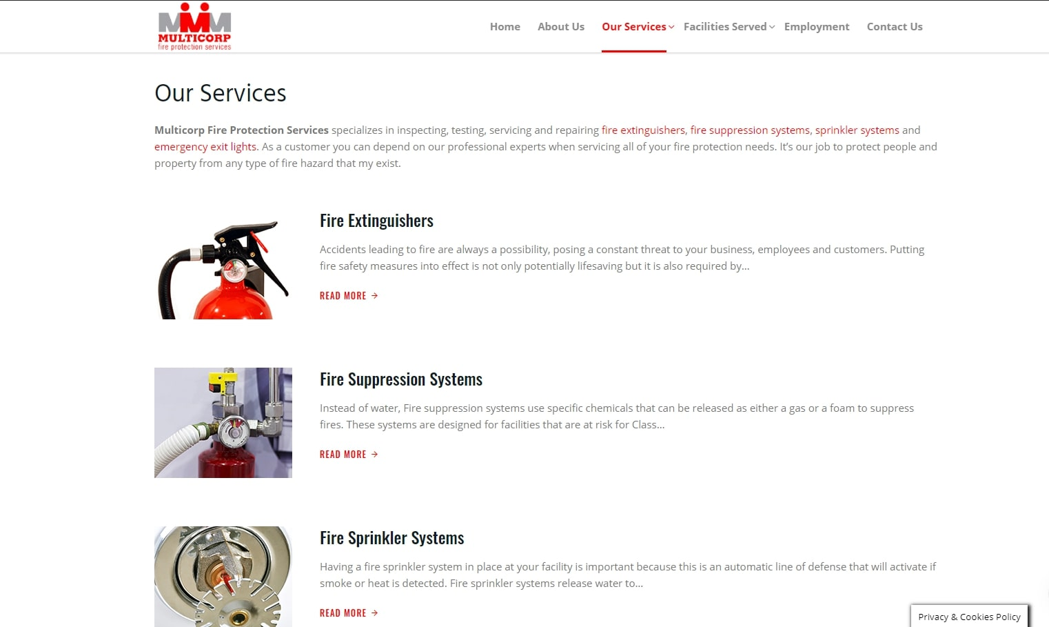 our services multicorp fire