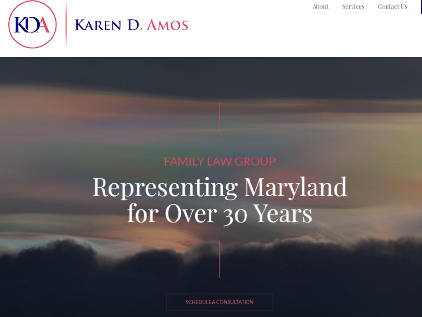 screenshot of KDA law website